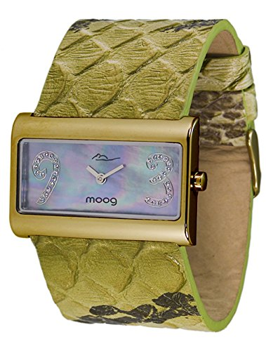 Moog Paris Wild Origin Montre Femme avec Cadran Nacre Vert, Eléments Swarovski, Bracelet Vert en Cuir Véritable - M41636F-103