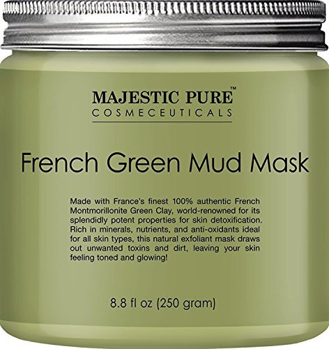 Majestic Pure French Green Mud Mask with Authentic Montmorillonite Green Clay, Exfoliating Facial Mask for Blackhead, Shrinking Pores, Fighting Acne and Toning Skin, 8.8 fl. oz