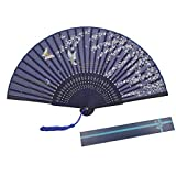 KAKOO Silk Folding Fan Bamboo Ribs Japanese Style Sakura and Butterflies Pattern Design Hand Held Fans for Dancing Cosplay Wedding Party Props Home Office Wall DIY Decoration Blue
