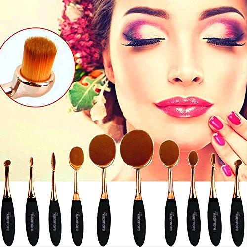 Pinceaux de Maquillage,Kapmore Maquillage Ovale Brush Set Pinceaux de Maquillage Professionnel Fondation Avec la Brosse à Dents Ovales Design Pour Poudre Crème Anticernes (10pcs Golden Rose)
