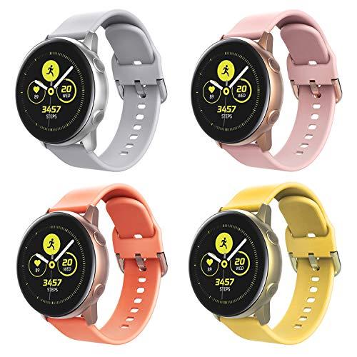 TiMOVO Band Fit Samsung Galaxy Watch Active/Galaxy Watch 42mm/Gear S2 Classic/Gear Sport/Garmin Vivoactive 3/Vivomove/Vivomove HR, [4-PACK] Soft Silicone Adjustable Strap Watchband - Multi Color B