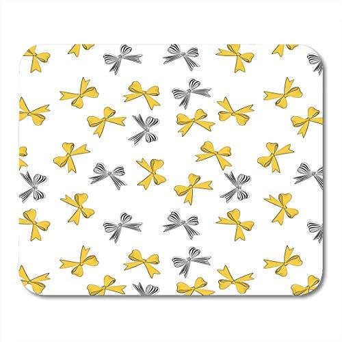 Mauspads Rosa grafisches gelbes und gestreiftes Bogen-Muster Netter Girly weißer schwarzer Fleck-Satin für Feiertags-Frauen-Tagesrote Mausunterlage für Notizbücher, Bürozubehöre des Tischrechners -