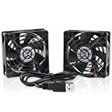 ELUTENG Ventilador USB 80mm Doble Fan 5V 0.24A Ventilador para PC 2 In 1 Cooler USB Fan 8cm Ventilador Portatil para Laptop/Receptor/Armario AV/Proyector
