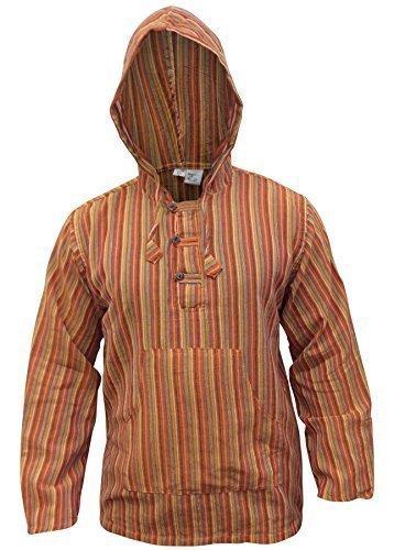 Shopoholic Mode Mehrfarbig Dharke streifen Opa Kapuzenpulli Hemd,Leicht - orange mix, XX-Large (- Leichte Orange-streifen)