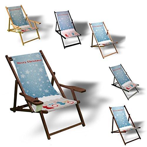 Weihnachtssocken - Liegestuhl bedruckt Balkon Garten Sonnenliege Relax Holz Terrasse, Variante:mit Armlehne. (Gedichte Spaß Halloween)