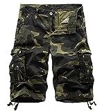 Panegy Herren Sommer Outdoor Camouflage Kurze Hose Baumwolle Atmungsaktive Cargo Shorts Bermuda Arbeitshosen Knielänge Sporthose