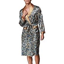 366d9f5465 OLIPHEE Herren Satin Bademäntel Paisley Pattern Kimono Morgenmantel