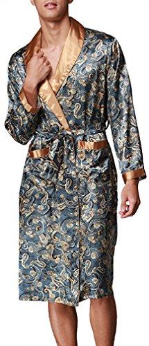 OLIPHEE Herren Satin Bademäntel Paisley Pattern Kimono Morgenmantel Blau-1 EUR M (Asien XL)