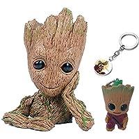KRUCE 3 Pack Baby Groot Maceta Pot Pen Contenedor con 2 Piezas Groot Llavero Colgante, Guardianes del Galaxy Tree Man Macetas con Agujero, Figuras de Acción Juguete regalo