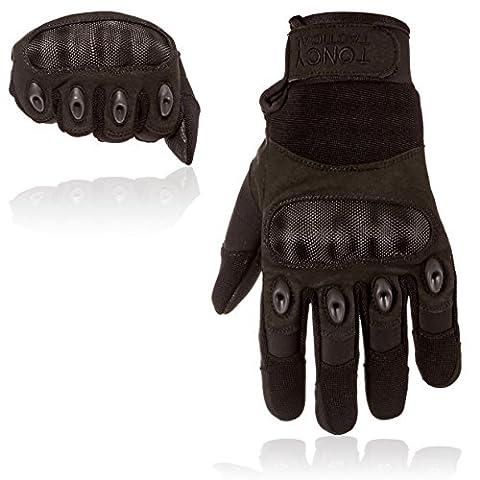 Taktische Handschuhe - Voll-Finger harte Knöchel Fahren Motorrad Schießen Polizei Airsoft Swat Kampf Militär Überfall taktische Ausrüstung. 1 Paar von Toncy Tactical (Schwarz, Large)