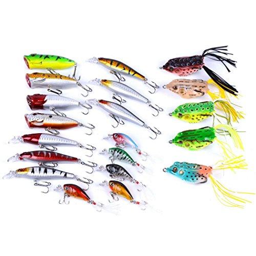 Aorace 20pcs Pêche Lures Kit mélangé, y compris Minnow Popper Crank et en plastique souples leurres Grenouille Lures pour la truite d'eau douce d'eau douce Salmon Bass Fishing