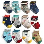 Yafane 12 Paar Baby Jungen Socken ABS Antirutsch Anti-Rutsch Socken Kleinkinder Rutschfest Babysocken 1-3 Jahre