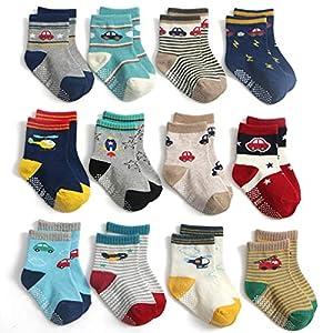 Yafane 12 Pares de Calcetines Antideslizantes para Niños Pequeños Algodón Lindo con Puños Calcetines Antideslizantes… 6