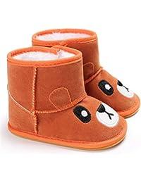 d5ca69da0 Zapatos De Bebé Botas para La Nieve Suave Cartoon Oso Fleece De La Suavidad  del Bebé