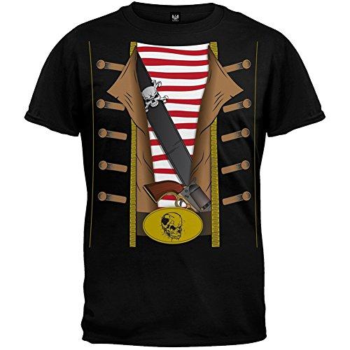 Old Glory Piraten Kostüm T-Shirt, Schwarz (Musik Piraten Kostüm)