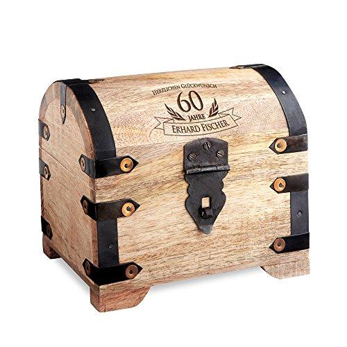 Casa Vivente Schatztruhe mit Gravur - Zum 60. Geburtstag - Personalisiert mit Namen - Aufbewahrungsbox aus hellem Holz - Verpackung für Geld und Gutscheine - Geschenkidee für Männer und Frauen