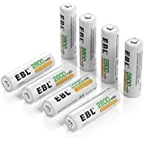 EBL 2800mAh AA de Alta Capacidad Ni-MH 1200 Ciclo de Pilas Recargables para los Equipos Domésticos con Estuches de Almacenamiento ( 8 piezas)