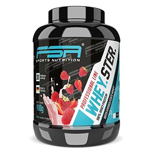 Whey Protein Eiweißpulver der deutschen Profisport Marke FSA Nutrition | Low Carb Proteinpulver mit BCAA | Für Muskelaufbau, Abnehmen, Fitness, Sport und Bodybuilding | 900g | Erdbeere (Optimale Stevia)