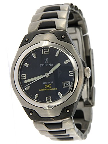 Festina Women's Watch Only Time Semi Automatic Mechanism with Steel Case and Steel Strap with Black PVD Inserts
