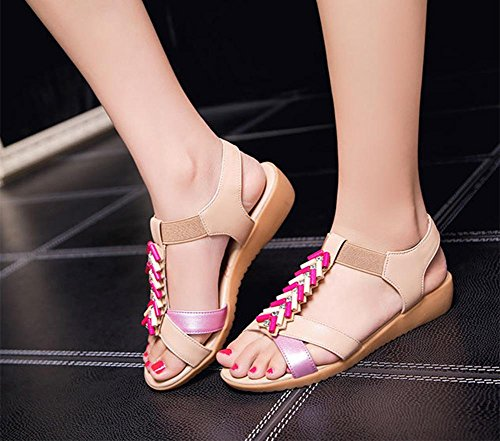 Sommer-Runde mit niedrigen Absätzen Schuhe, flache Sandalen Strass Schüler Sehne am Ende Sandalen große Yards Pink