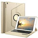 Boriyuan Ipad Pro 9,7 Hülle Bluetooth Tastatur, 360 Grad drehbar Leder Case Keyboard Schutz Tasche Cover mit Bluetooth Tastatur (Deutsche QWERTZ) für Apple iPad Pro 9,7 Zoll 2016 Modell Tablet-PC ( Farbe: Gold)