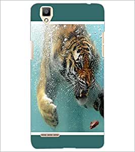 PrintDhaba Angry Tiger in Water D-1308 Back Case Cover for OPPO F1 (Multi-Coloured)