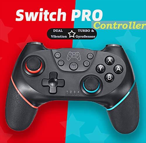 Maegoo Mando para Nintendo Switch Inalámbrico,  Bluetooth Wireless Nintendo Switch Pro Mando Controlador Gamepad Joypad Joystick Admite Sensor 6 Gyro Axis,  Turbo y Dual Motor Vibration (Negro)