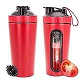 TOOFEEL Protein Shaker 820ml Stainless Steel Shaker  Diät Shaker   Edelstahl Eiweiß Shaker Wasserflasche Protein-Shaker mit Sichtbares Fenster, auslaufsicher