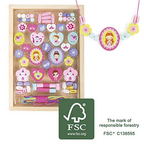 small foot 11014 Fädelperlen aus Holz, mit Prinzessinnen-Motiven, in praktischer Holzkiste zum Aufbewahren, ab 3 Jahren Spielzeug, Mehrfarbig