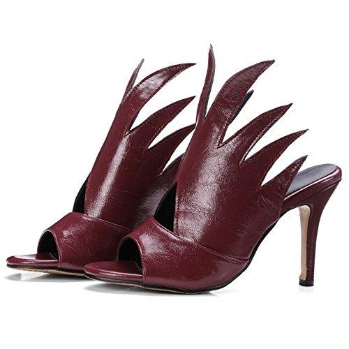 COOLCEPT Damen Mode Slip On Sandalen Stiletto Peep Toe Slingback Schuhe Gr Rotwein