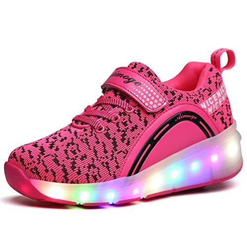 Unisex-Kinder Mode LED Rollschuh Schuhe LED Lichter Blinken Einstellbare Räder Technologie Skateboardschuhe Gymnastik Running Turnschuhe für Jungen Mädchen (34 EU, Pink-123)