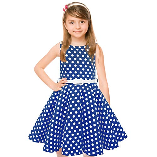HBBMagic Maedchen Audrey 1950er Vintage Baumwolle Kleid Hepburn Stil Kleid Blumen Kleid Tupfen Kleid (5-6 Jahre/114-122 cm, Blau/weiß dot) (Mädchen Kleid Weiß)