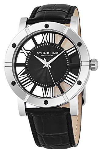 Stührling Original 881.02 - Reloj analógico para hombre, correa de cuero, color negro