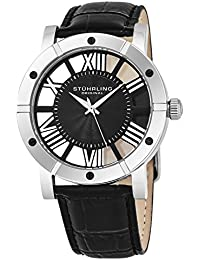 Stuhrling Original Winchester Advanced Men's Quartz Watch with Black Dial Analogue Display and Black Leather Strap 881.02