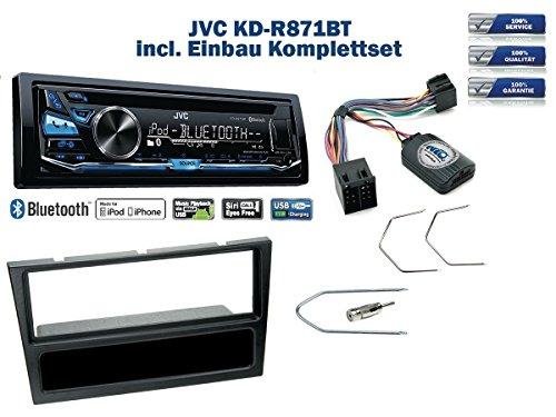 NIQ Opel Agila/Corsa C/Omega Autoradio Einbauset *Schwarz* inkl. JVC KD-R871BT und Lenkrad Fernbedienung Adapter