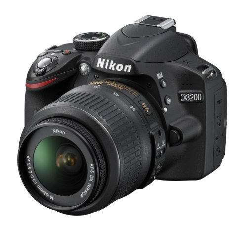 Nikon D3200 SLR-Digitalkamera (24 Megapixel, 7,4 cm (2,9 Zoll) Display, Live View, Full-HD) Kit inkl. AF-S DX 18-55 VR Objektiv schwarz Digital Still Camera Kit