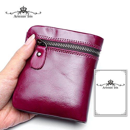 Artemis'Iris Donne Compact cera vera pelle raccoglitore della tasca di lusso della frizione carte denaro cambiamento dell'organizzatore del supporto della borsa del Corto, viola purple