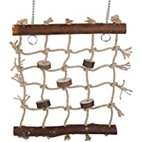 Fdit 1pc Gabbia Uccello Pappagallo Giocattoli Corda di Canapa Arrampicata scaletta Uccelli Giocattolo da Cucire Interessante Interessante Decorazione appesa