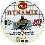 WFT Round Dynamix Pilk yellow 220m, geflochtene Schnur zum Meeresangeln, Angelschnur für Norwegen, Durchmesser/Tragkraft:0.18mm / 16kg Tragkraft