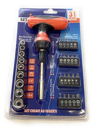 Steckschlüssel-Satz - 31 Teile - Ratschenschlüssel mit T-Griff - magnetische Schlitz-Bits, Kreuzschlitz, Torx, Sechskant, Pozidriv und Steckschlüsseleinsätze - Multifunktionswerkzeuge