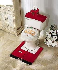 Protecteur Siège WC Décoration Noël Père Noël Content 3 Pièce & Tapis Bain