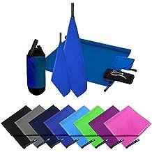 2er Set Reisehandtuch dark blue Mikrofaser Handtuch 70x140 cm + 30x50cm Sport-Handtuch saugfähig Badehandtuch (Dark Blue)