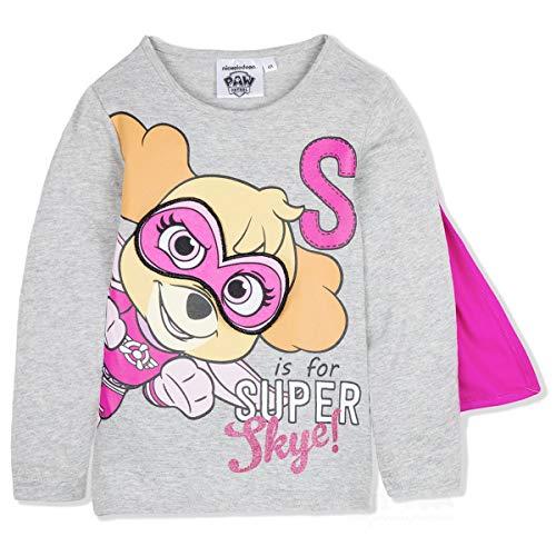 Paw patrol - maglia maglietta t-shirt premium con mantello e maschera rimuovibile - skye - bambina - prodotto origianale con licenza ufficiare 1111hr [grigio - 6 anni - 116 cm]