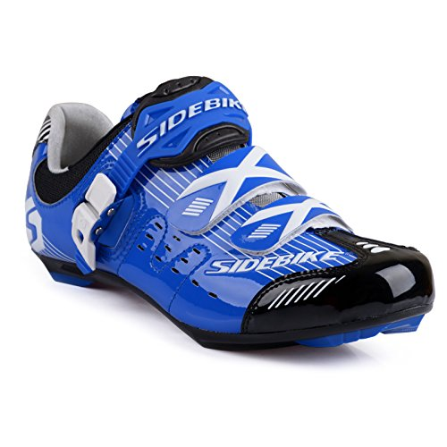 Herren/ Mann Professionelle Radschuhe Rennrad Fahrradschuhe EU Größe 45 Ft 28.5cm Blau/Schwarz (Wählen Sie eine Größe mehr als üblich)