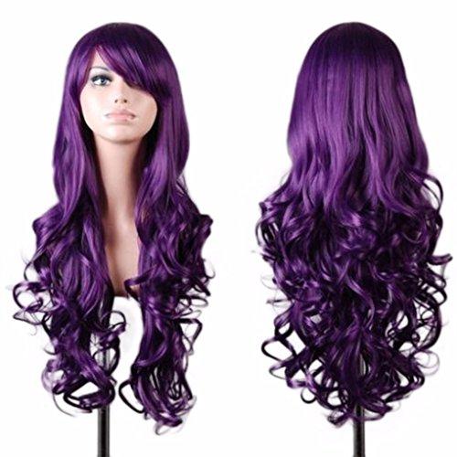LCLrute Lange lockige Haarfarbe Perücke Frauen-Dame-langes gewelltes lockiges Haar Anime Cosplay Partei-volle Perücken-Perücken (Lila)