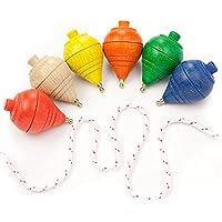 DISOK Lote de 12 Peonzas de Madera de Colores - Regalos y Detalles para Comuniones, Niños, Niñas, Fiestas de Cumpleaños, Trompas