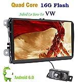 Con fotocamera + Canbus 22,9cm 2DIN Android 6.0Quad-Core touch screen video Car Navigation autoradio per VW Volkswage, supporto schermo collegamento/OBD2/Subwoofer/RDS/Bluetooth per Volkswagen VW auto