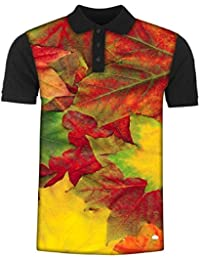 Snoogg Beautiful Autumn Maple Leaves Background Men's Polo T-Shirt with Collar Stylish Half Sleeve (Cotton,Polyester)
