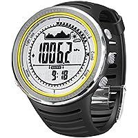 Sunroad 5ATM Orologio Sportivo multifunzione Guarda watch con altimetro Pedometro Bussola Cronometro Pesca barometro Outdoor impermeabile unisex LED digitale
