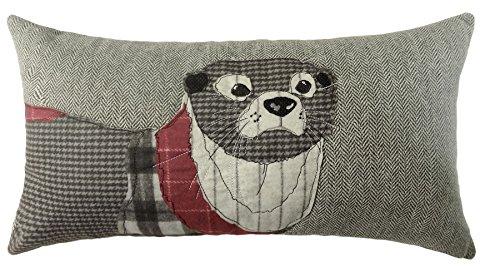 Gefülltes Boudoir rot grau Otter Herringbone Kissen passend zum Bettbezug 28x 48cm (Grau Boudoir Kissen)